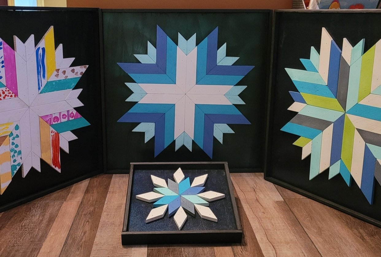 Barn quilt snowflakes - student project