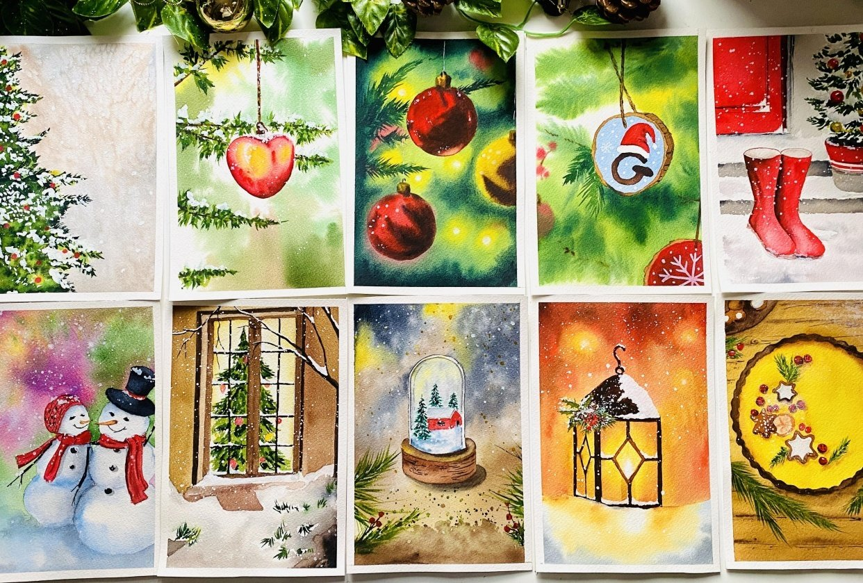 Countdown to Christmas with Watercolours - student project