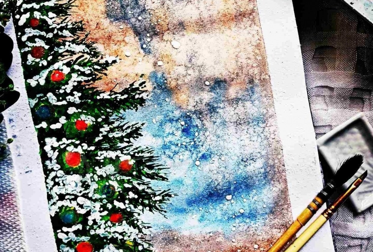 Christmas themed paintings - student project