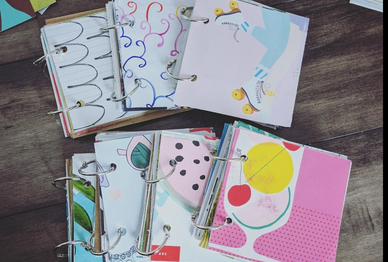 Mini square junk journals - student project
