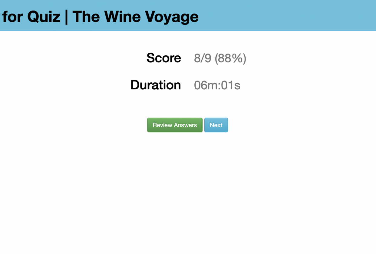 Quiz results and Tasting notes - student project