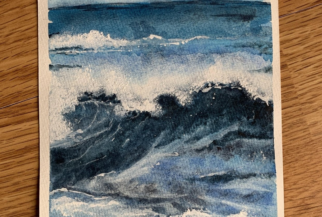 How to draw the sea with watercolour - student project