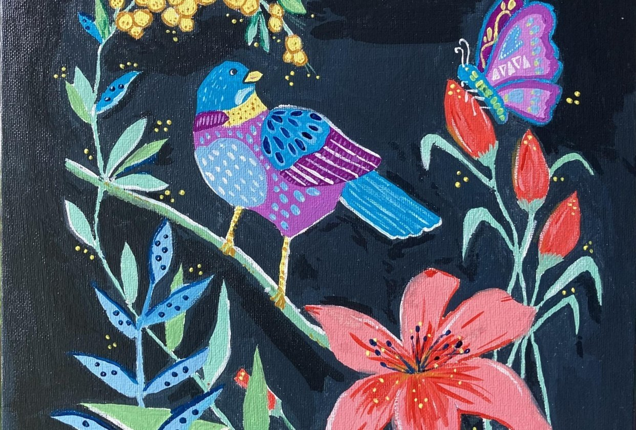Bird and flower in Gouache - student project
