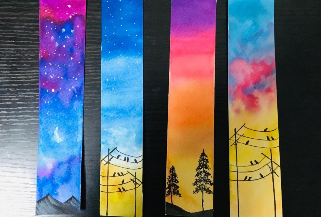 watercolor skies bookmarks - student project