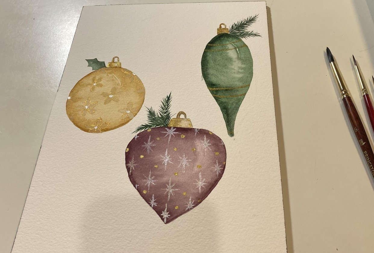 Watercolor Ornaments - student project