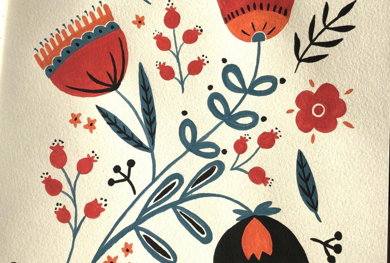 Folk Art flowers - student project
