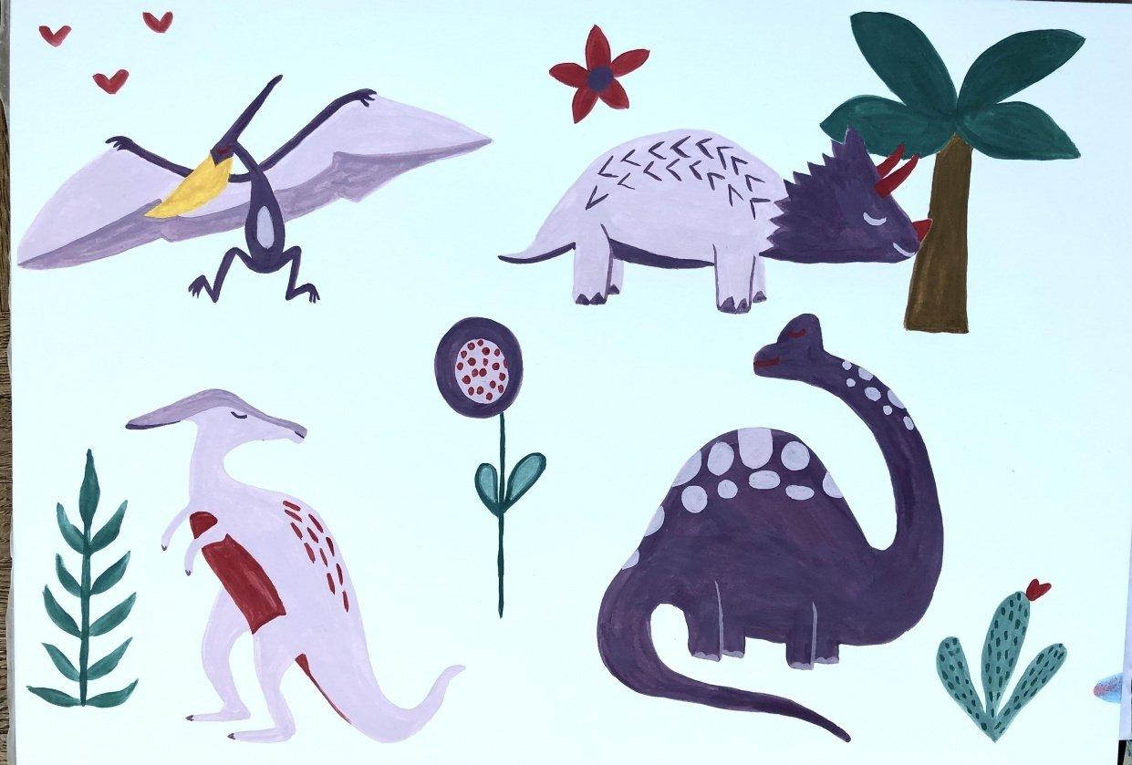 Gouache Dinosaurs - student project