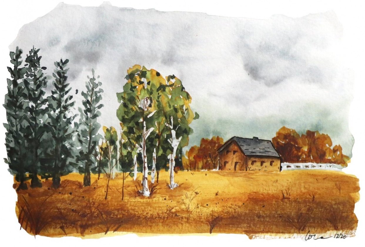 Painting a landscape with watercolor - student project