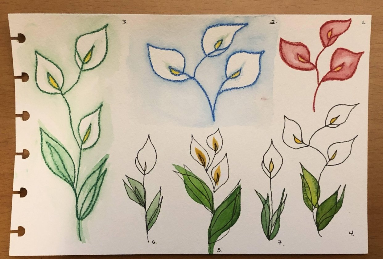 One-Line Calla Lilies & Sunflowers - student project