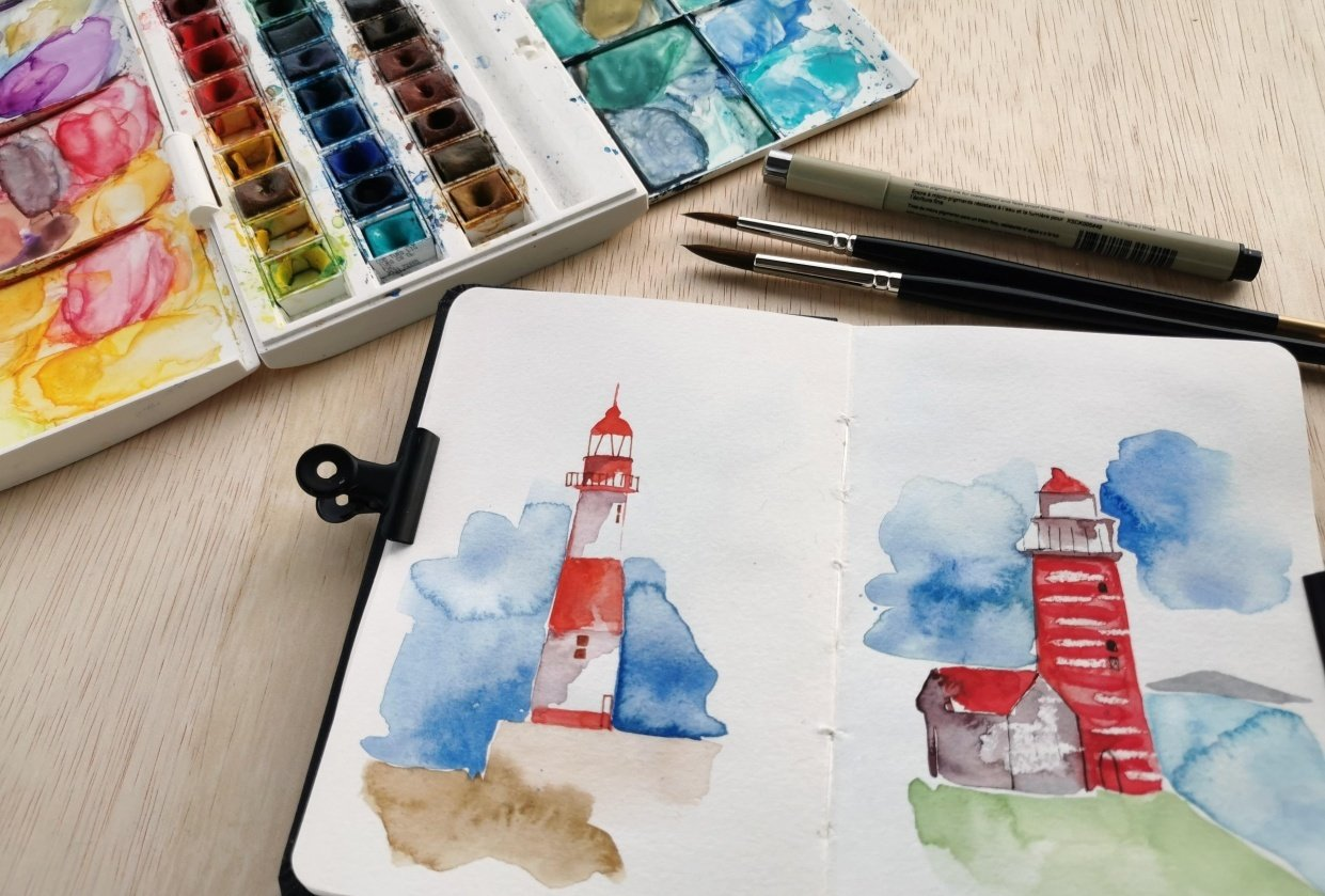 Watercolor Lighthouses - student project