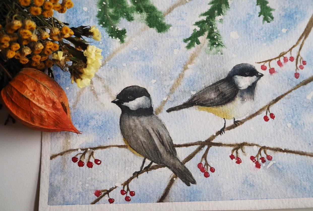 Festive chickadees - student project