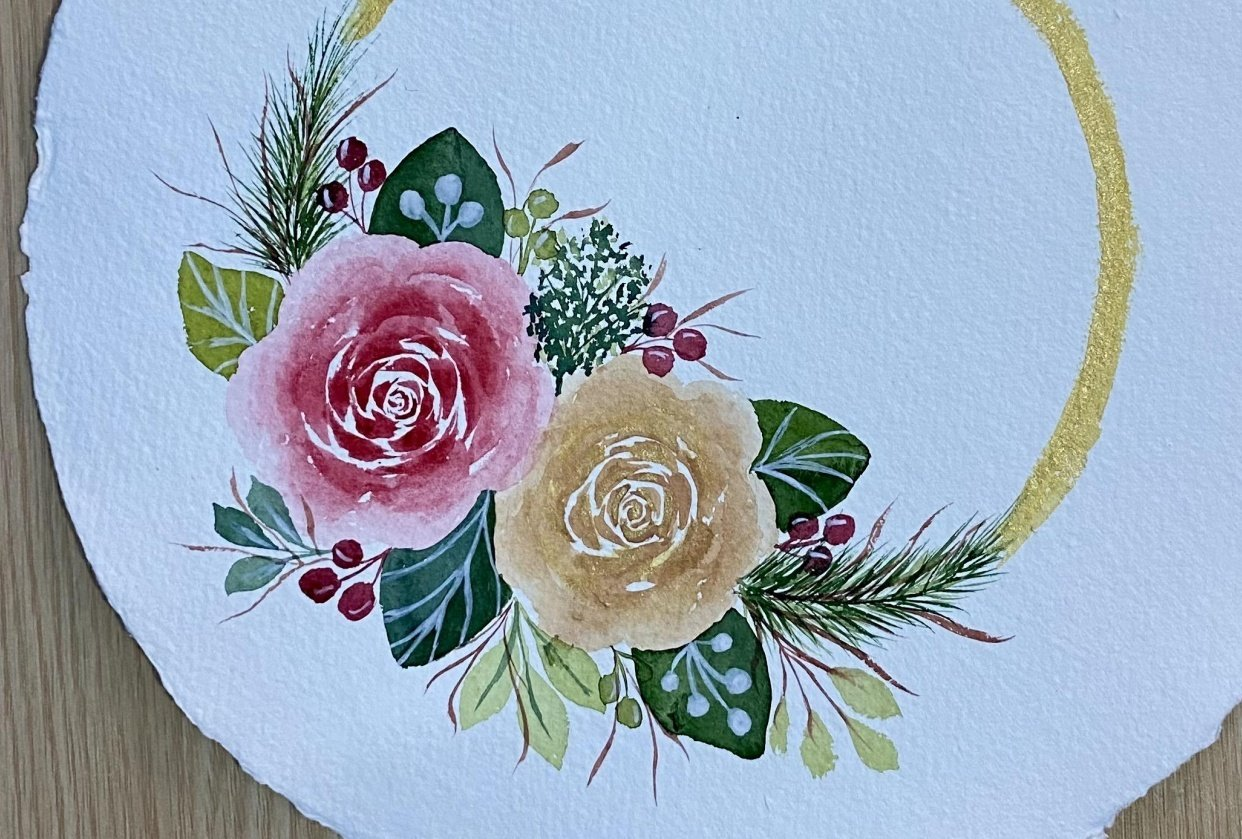Modern Holiday Watercolor Floral Border - student project