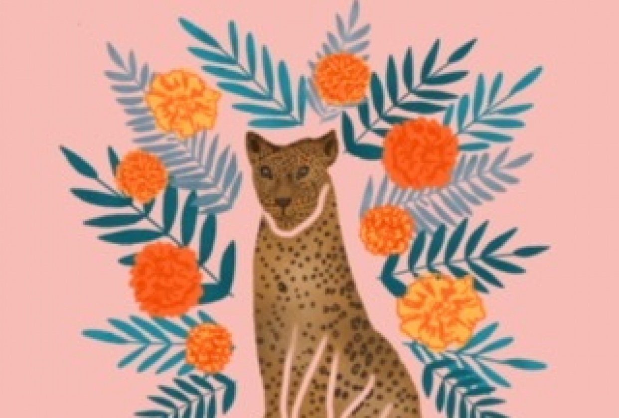 Jaguar with marigolds - student project