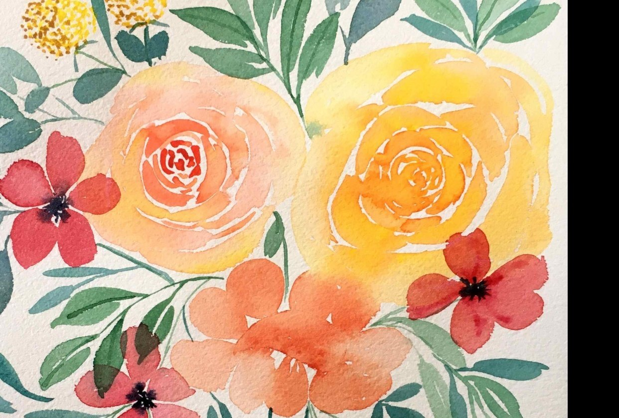 Loose Floral Watercolour projects - student project