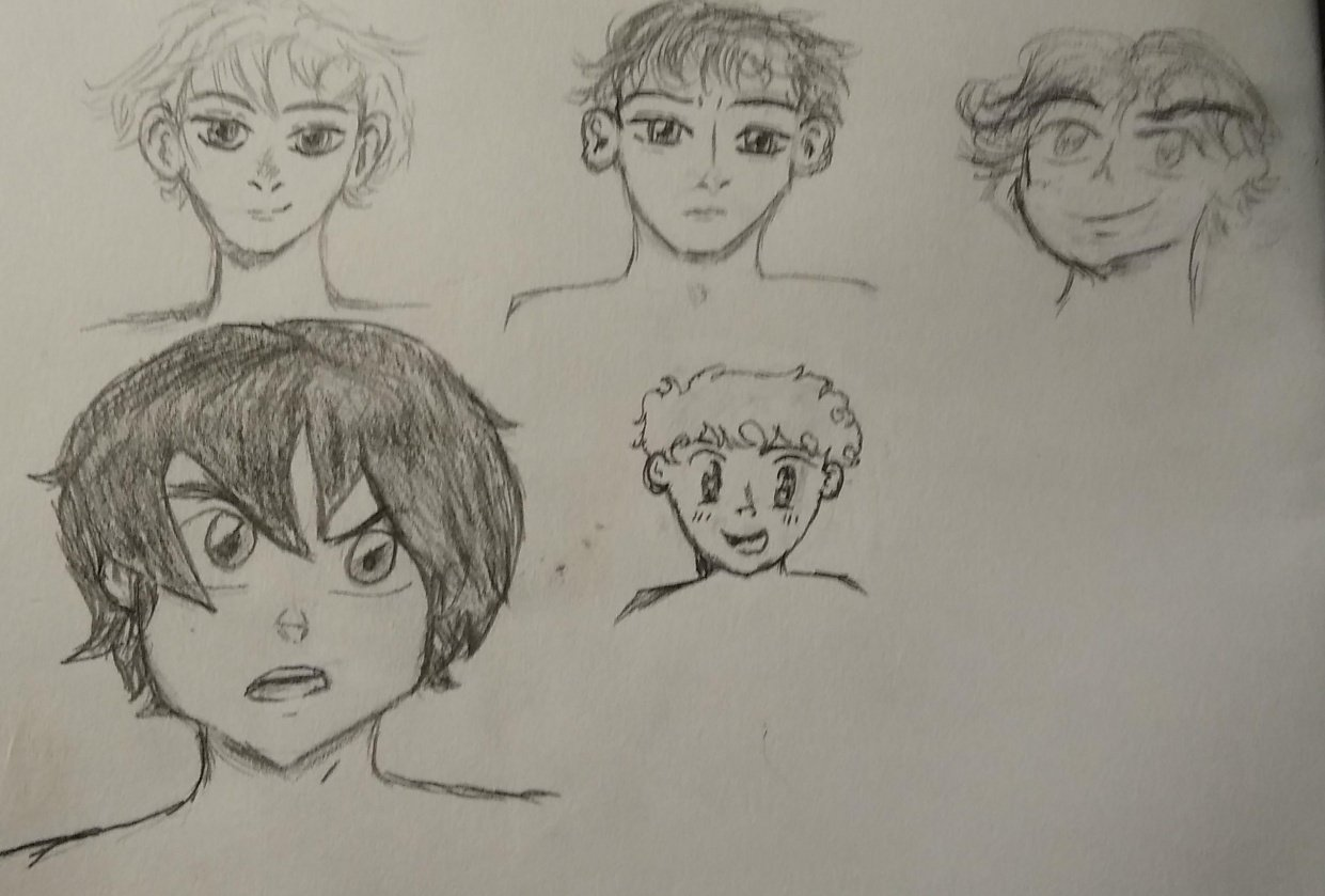 Anime Boys Profile Sketches - student project