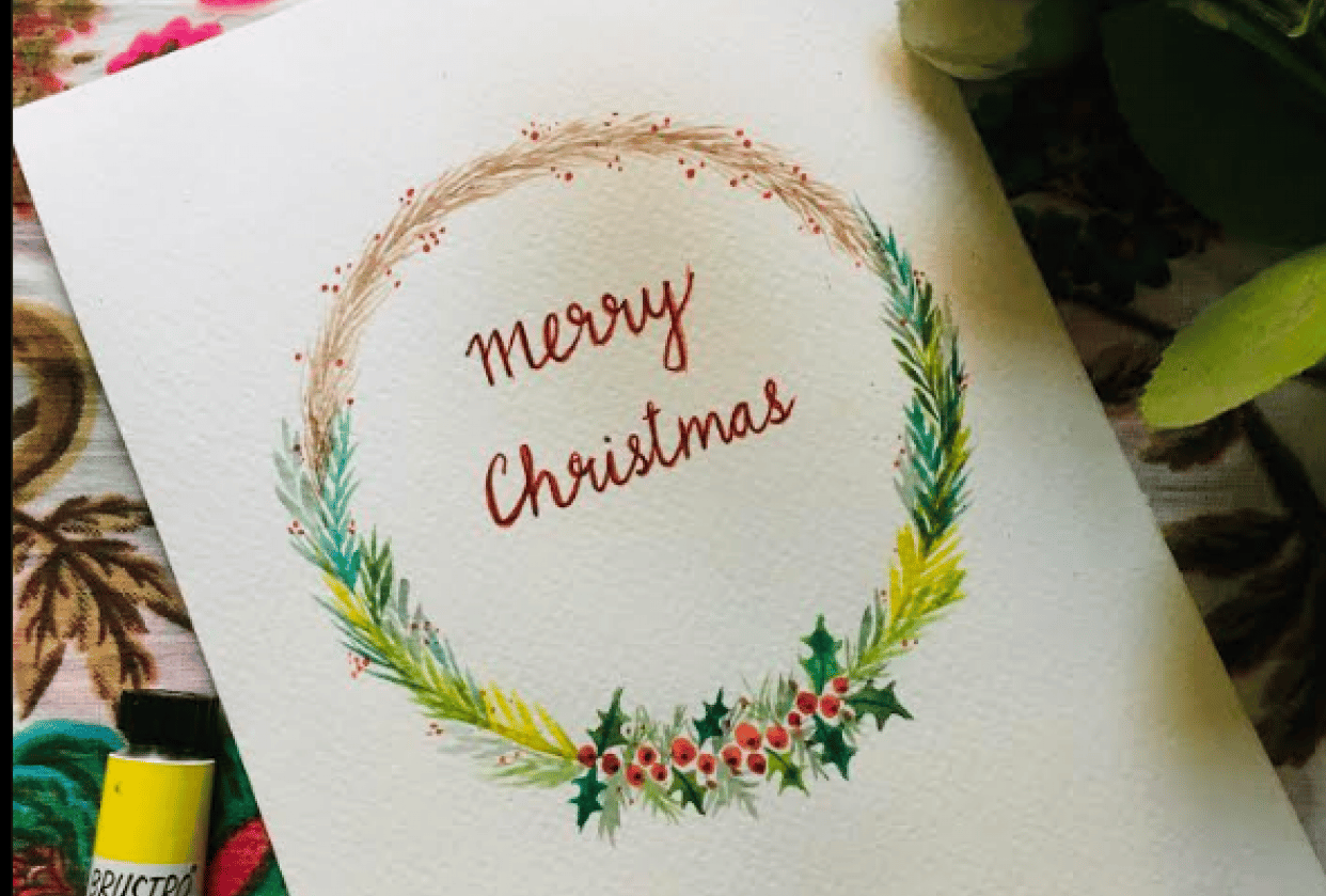 christmas wreath in watercolor - student project