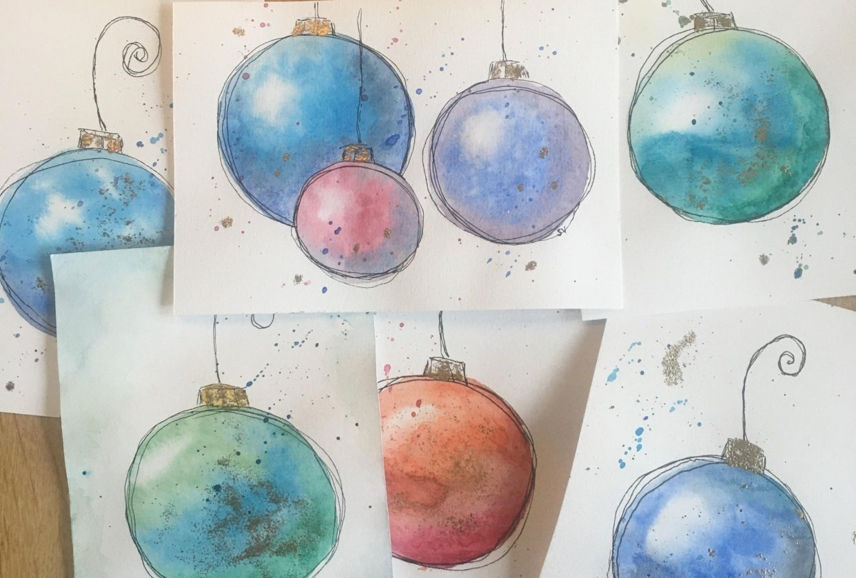 Loose watercolor baubles - student project