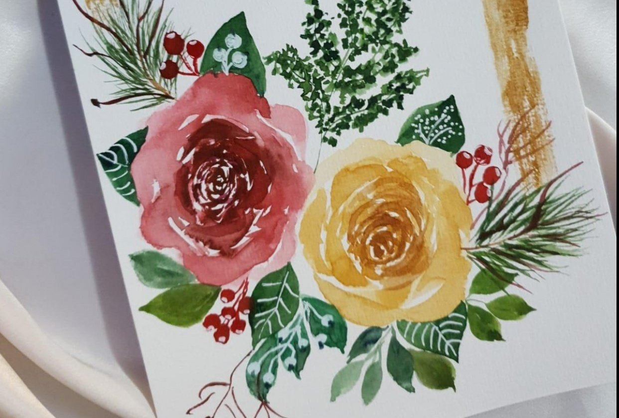 Modern Holiday Watercolor Florals - student project