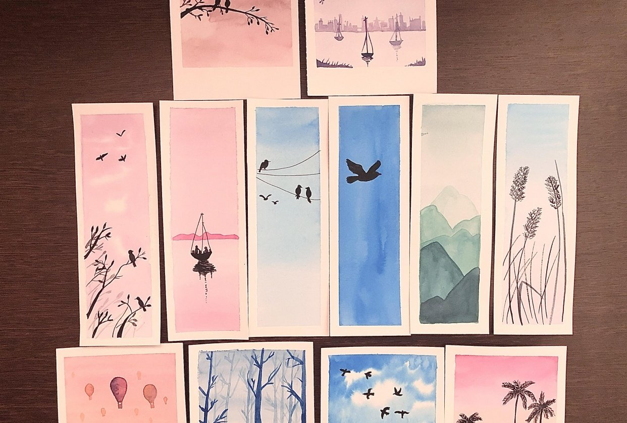 Relaxing watercolour projects for beginners: Simple skies and silhouettes. - student project