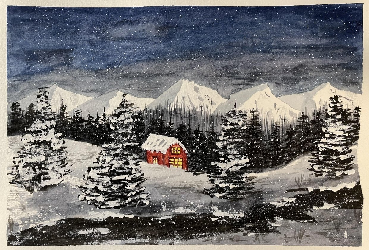 Snowy holiday night - student project