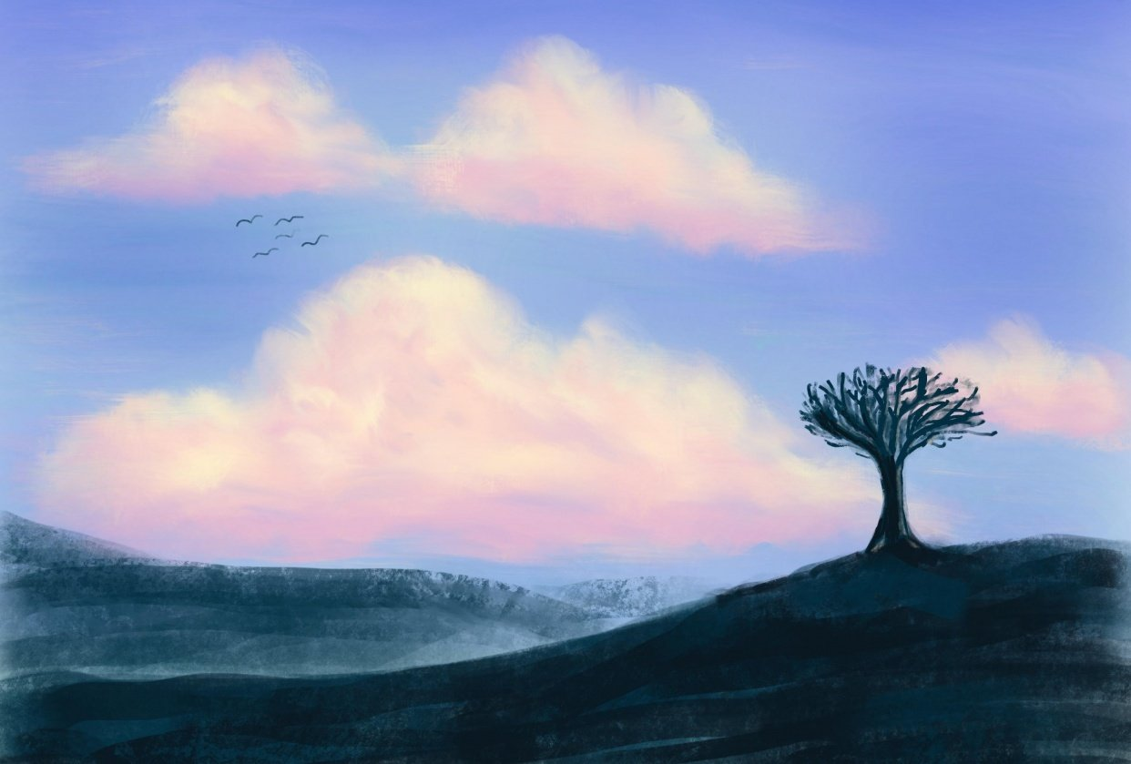 Clouds and Tree in Silhouette - student project
