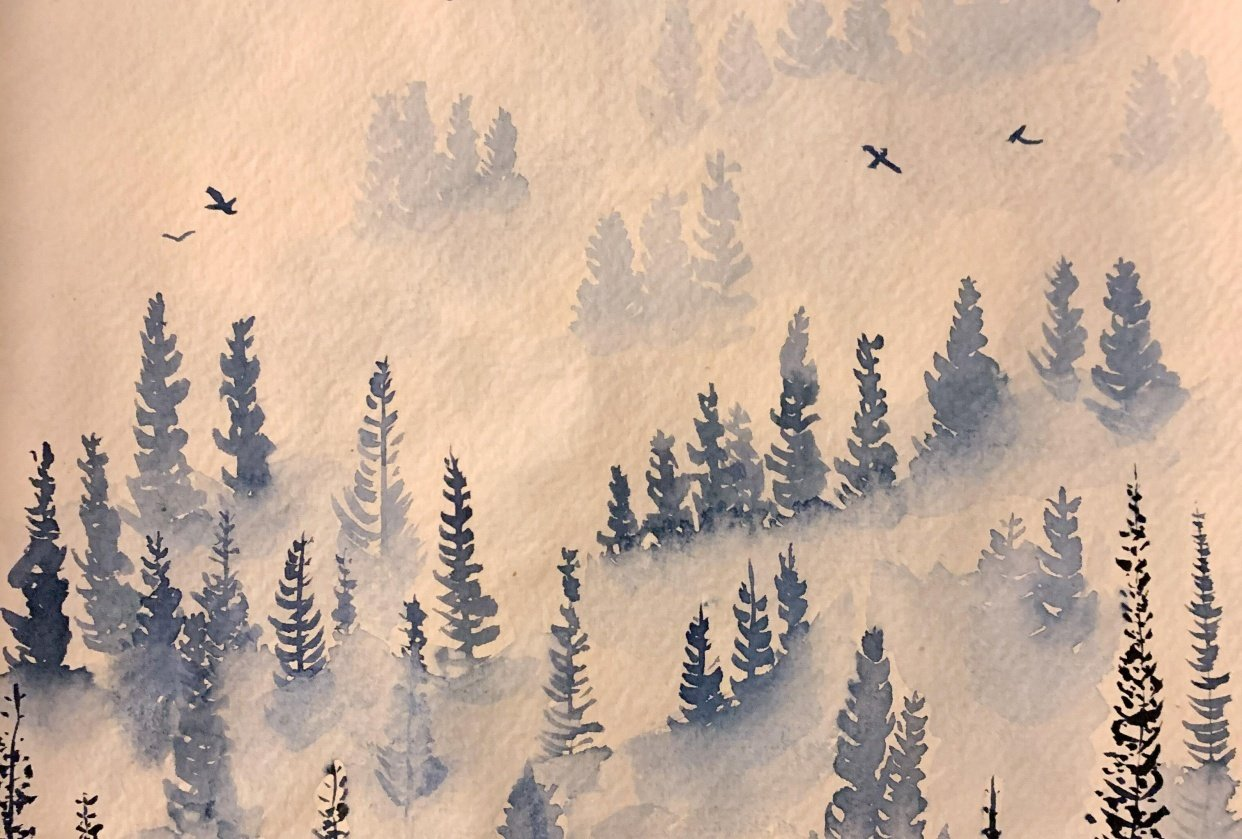 Misty Pines in Sennelier Indigo - student project