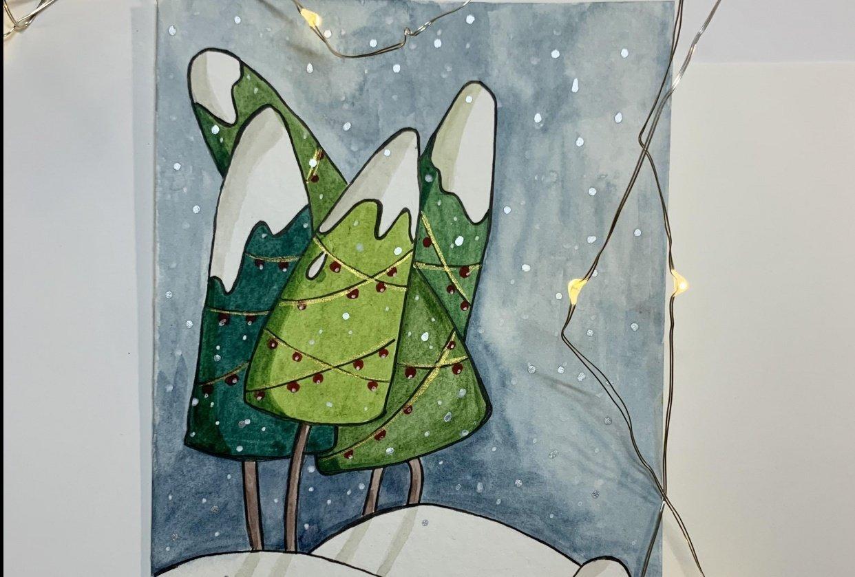 Christmas Holiday Postcard - student project