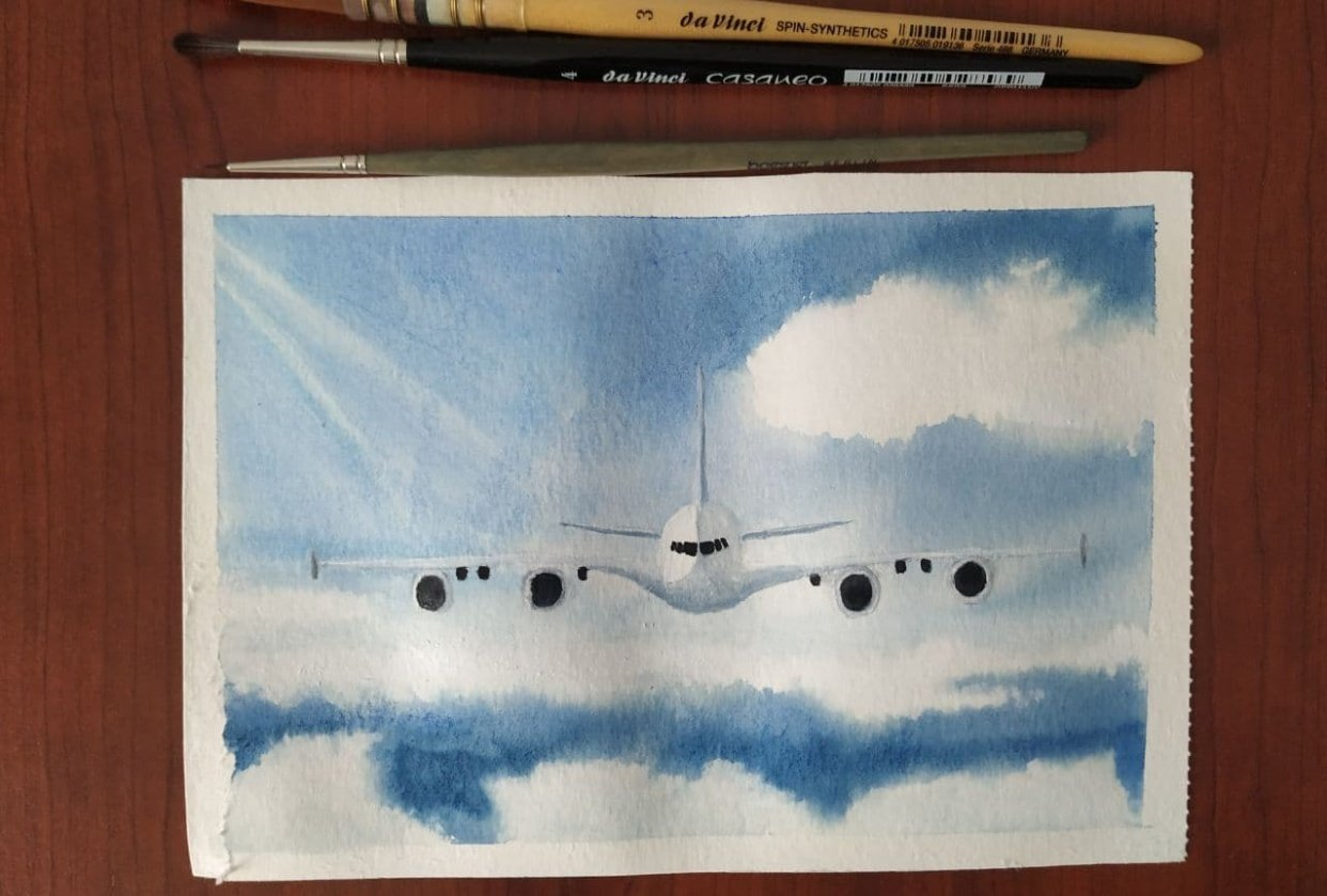 Airplane over clouds - student project