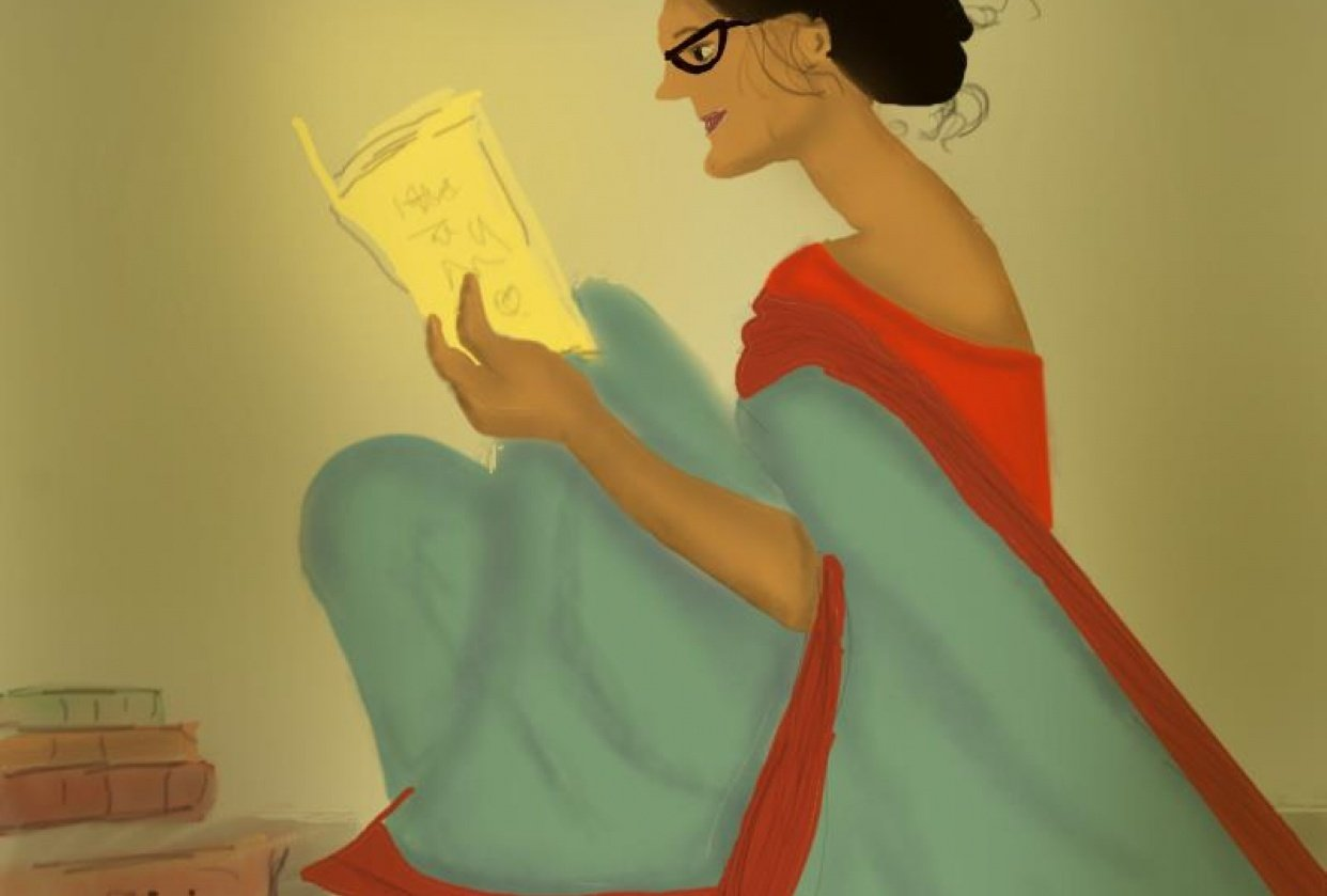 Lady with books - student project