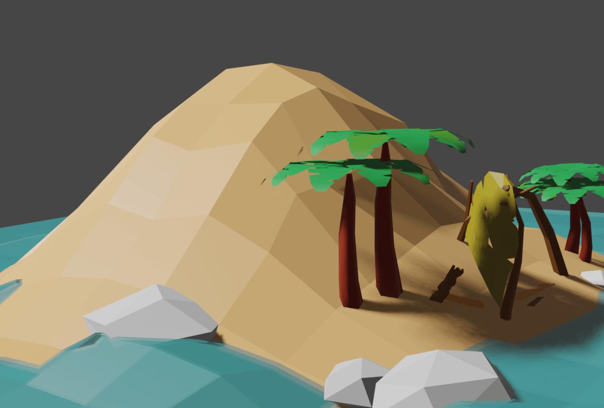 Desert Island Render - student project