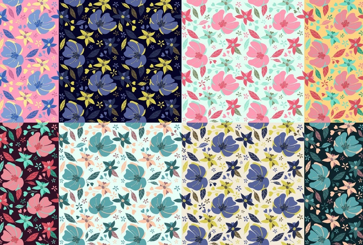 Flower pattern x8 - student project
