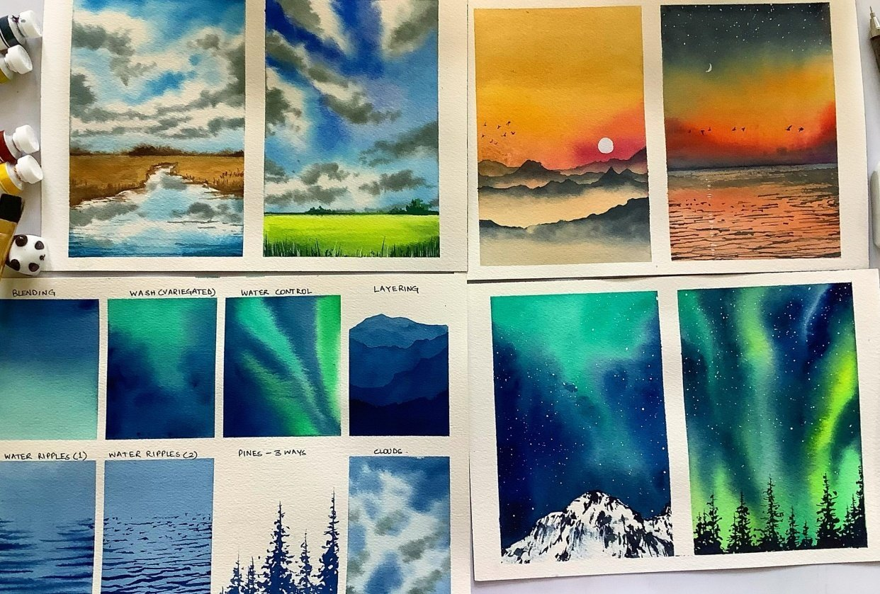 6 Easy Watercolor Landscape in 15 minutes. - student project