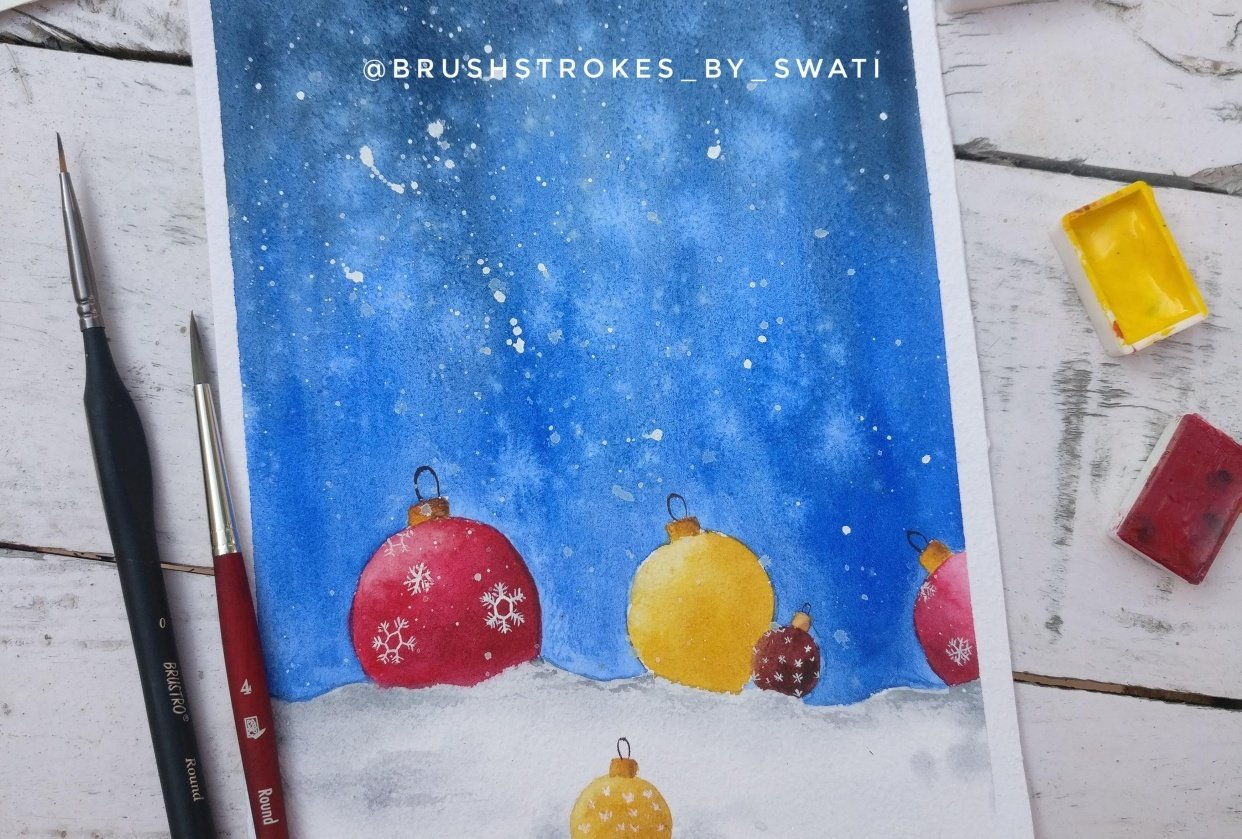 Christmas with watercolors - student project