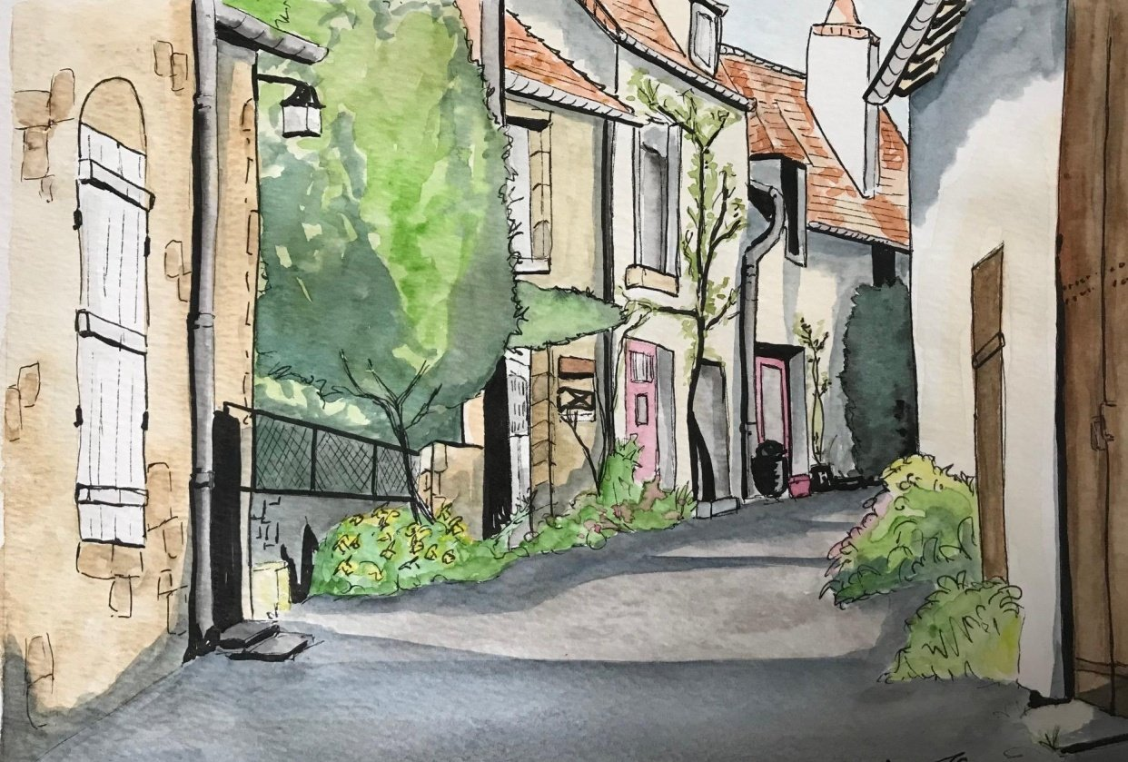 French Street in Watercolour - student project