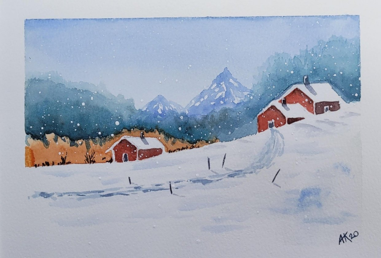 Village in the snow - student project