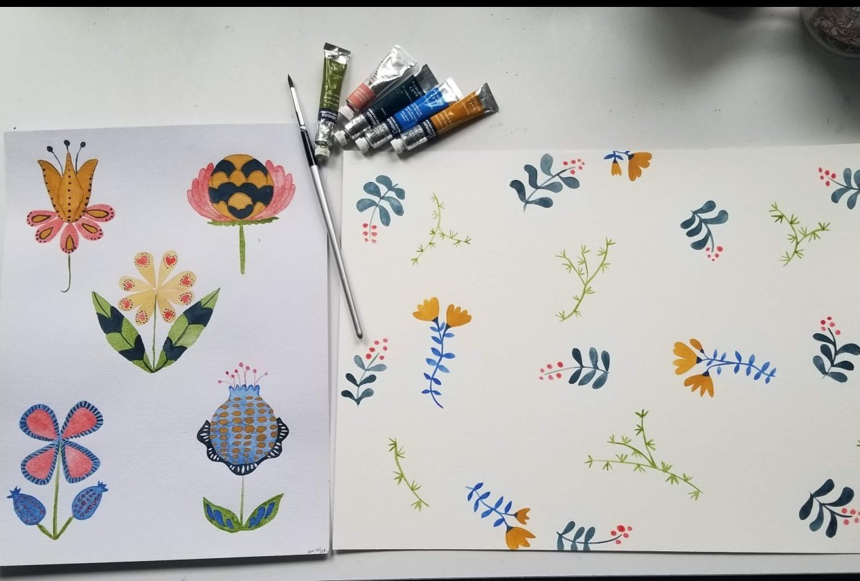 Modern Folk Flowers - student project