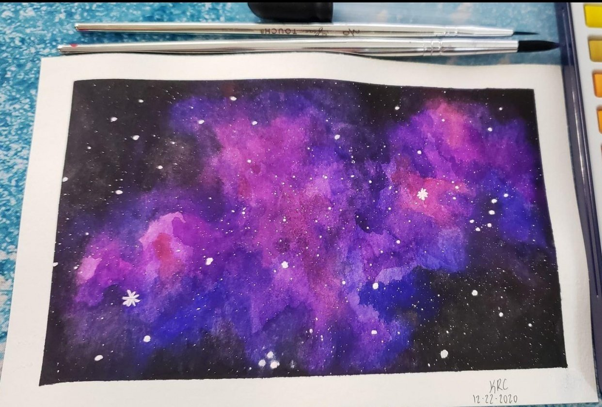 Watercolor Galaxy - my first watercolor EVER! - student project