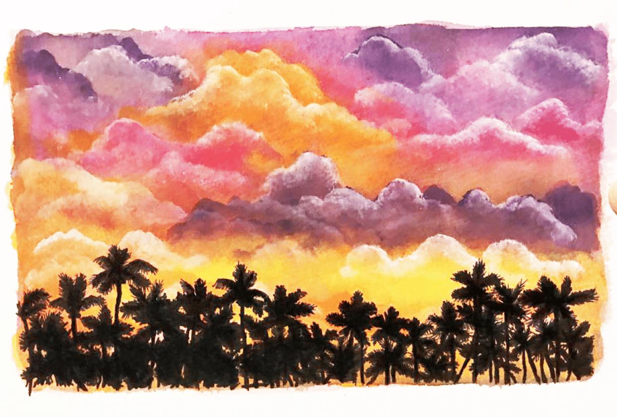 I love painting cumulus limbus ! - student project