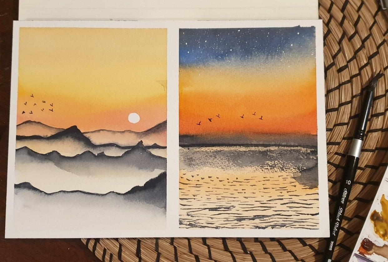6 easy watercolor  landscapes - student project