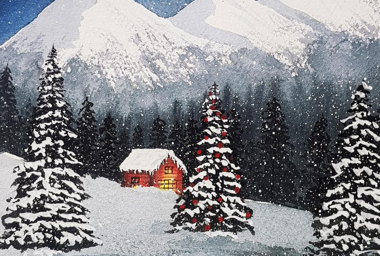 Snowy Christmas Night - student project