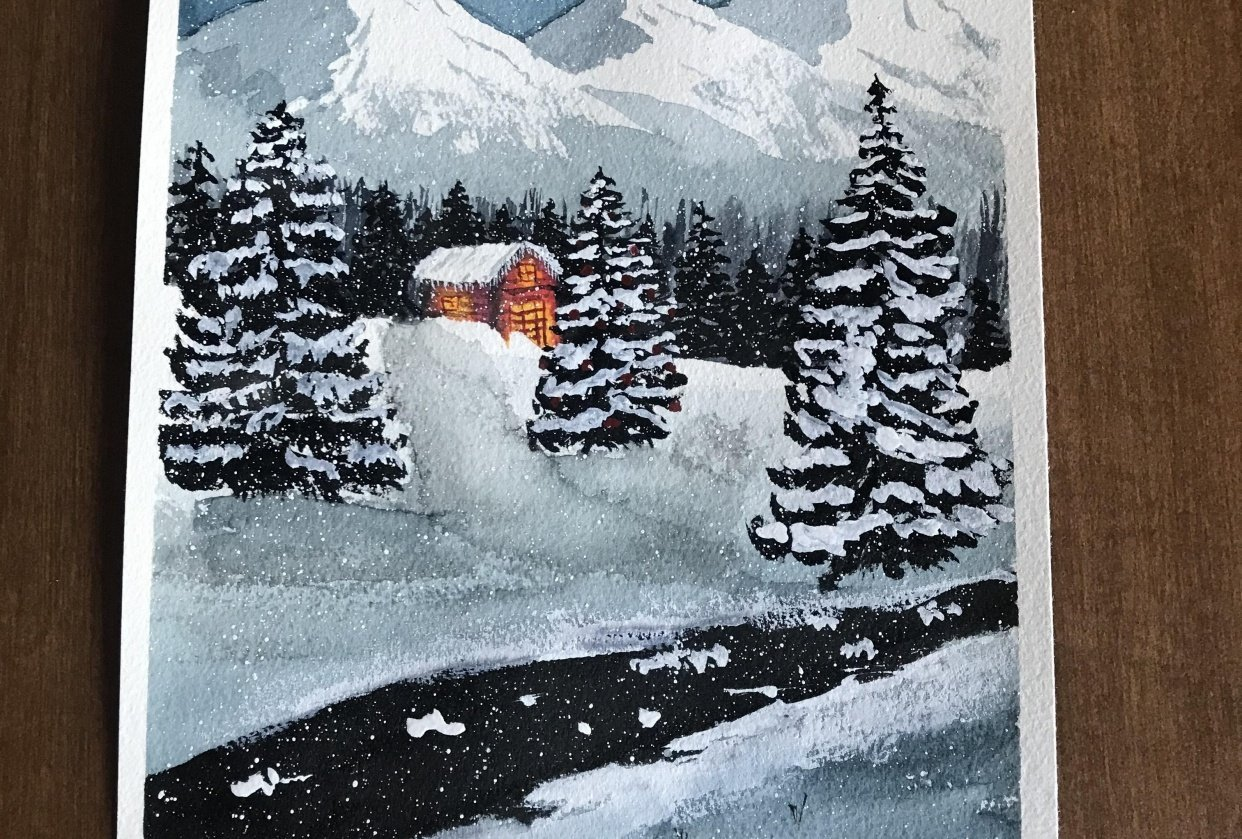 Snowy, starry Christmas - student project