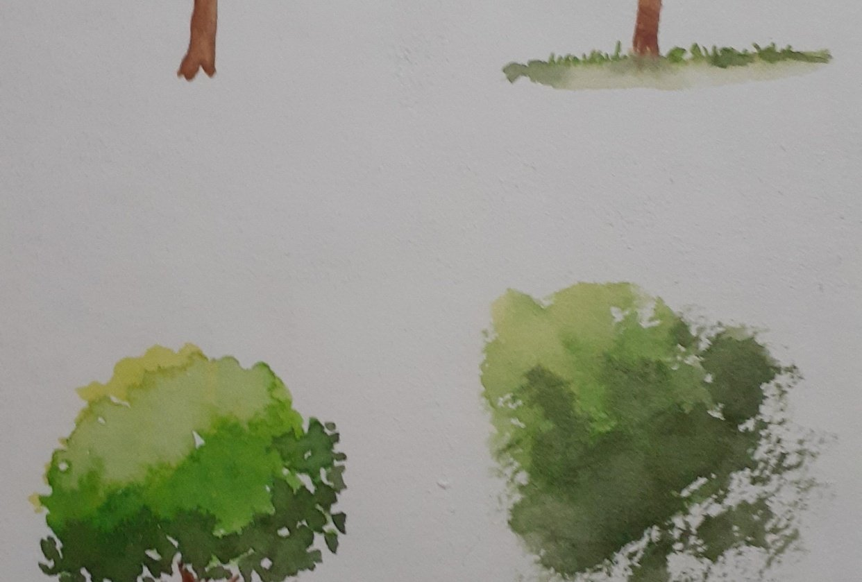 Watercolor Trees by Michelle - student project
