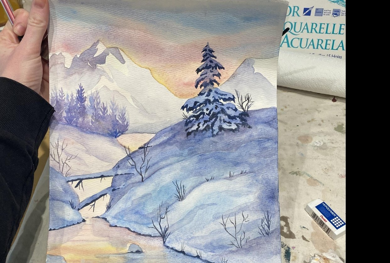 Sunset wintery landscape - student project