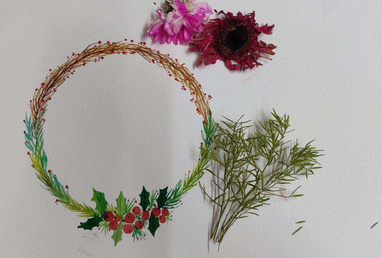 Christmas Watercolor wreath - student project
