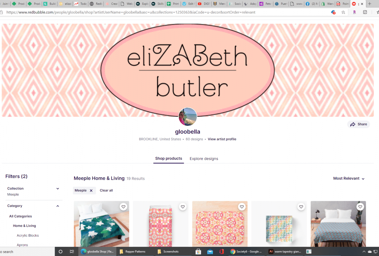Beth's Redbubble Store - student project