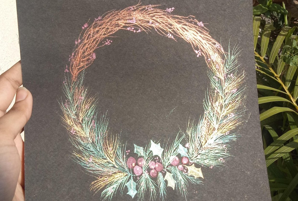 Shimmery wreath - student project