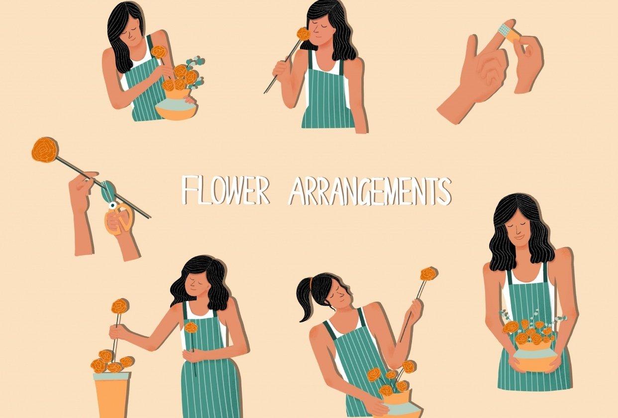 spot illustration-flower arrangements - student project