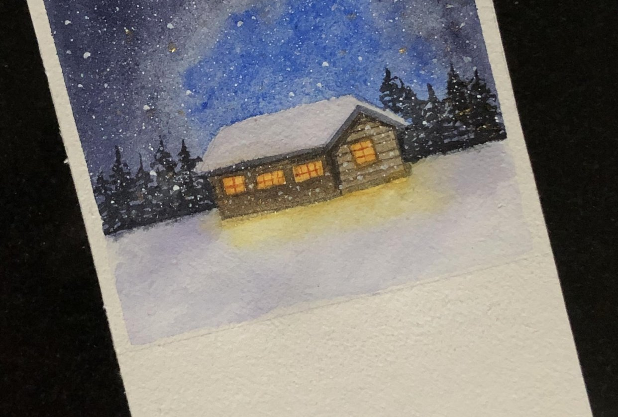 Starry sky using water color. By Ekaterina - student project