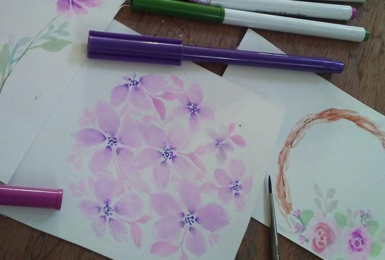 Loose florals watercolor with Supertips - student project