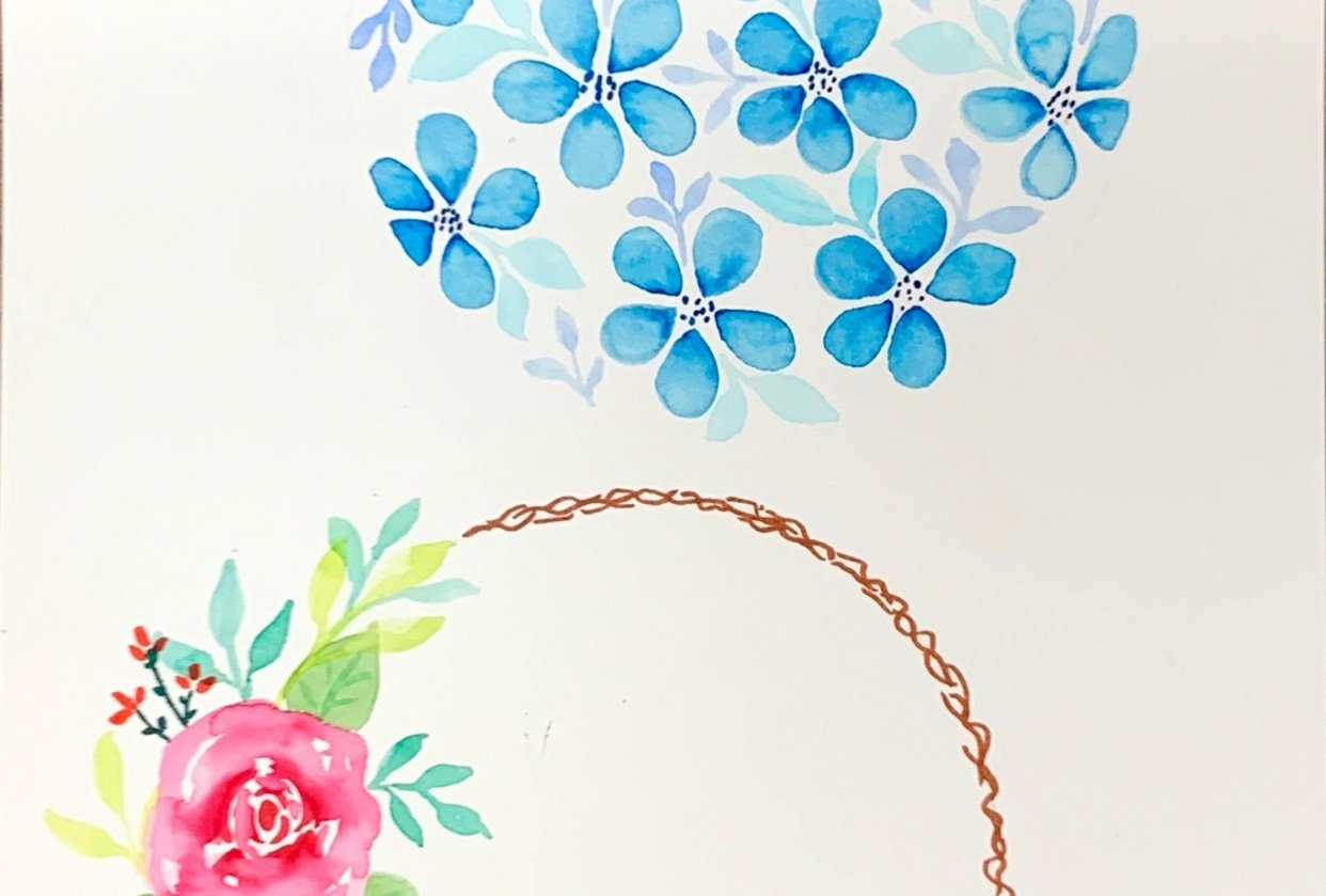 Brush pen florals - student project